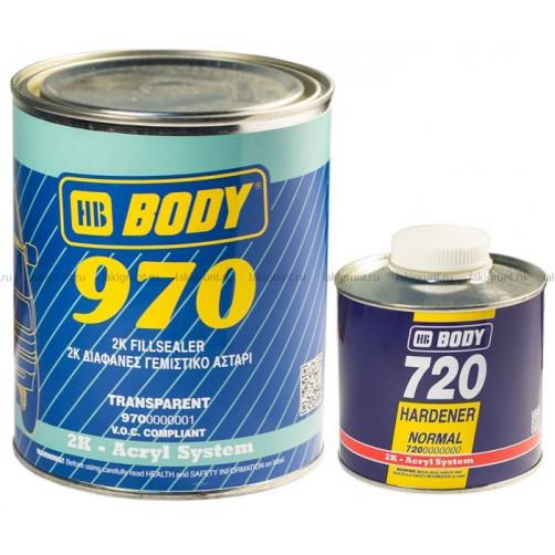 970 бесцветный грунт-наполнитель 2+1 с отвердителем 720 Боди, уп. 1+0,5 л