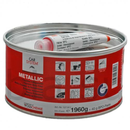 Шпатлевка полиэфирная Metallic с алюминиевым наполнителем Carsystem, уп.2 кг