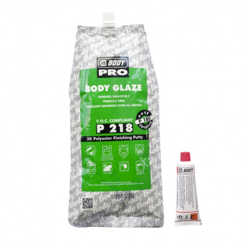 Шпатлевка автомобильная полиэфирная BODY P218 GLAZE тонкая (серая), уп. 0,6 л