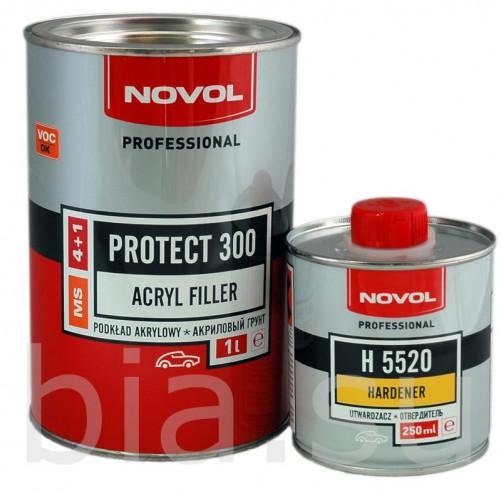 Грунт акриловый автомобильный MS NOVOL Protect 300 белый, уп. 1л+0,25л