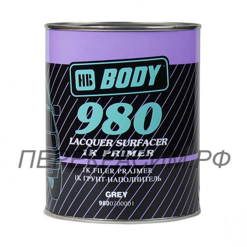 Body 980 грунт автомобильный 1К наполнитель, серый, 1 л