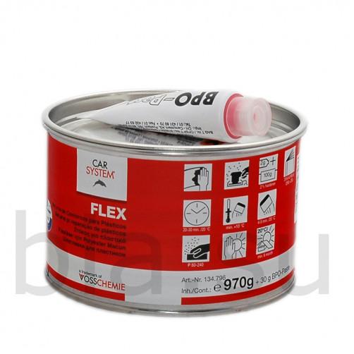 Шпатлевка 2К полиэфирная Flex черная Carsystem, уп.1 кг (для ремонта пластиков)