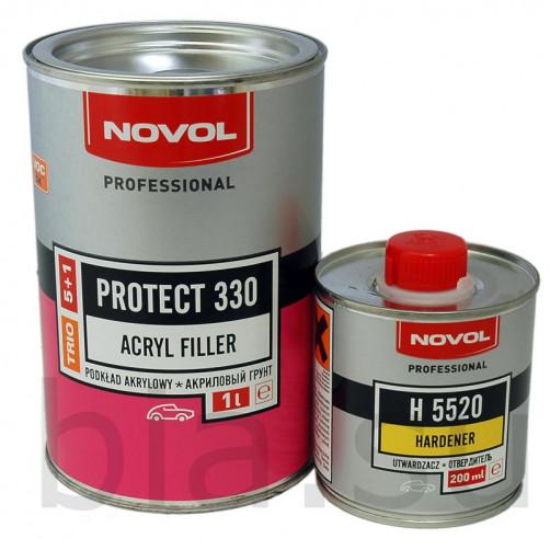 Грунт акриловый автомобильный NOVOL 5+1 Protect 330 TRIO серый, уп. 1+0,2 л
