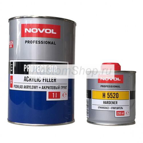 Novol Protect 310 грунт автомобильный HS (4:1) акриловый, серый, 1+0,25 л
