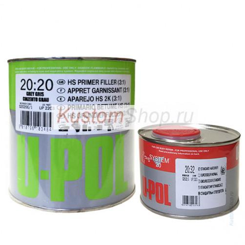U-POL S2020G HS 3:1 грунт (универсальный серый) 1л + отвердитель (стандартный) 330 мл