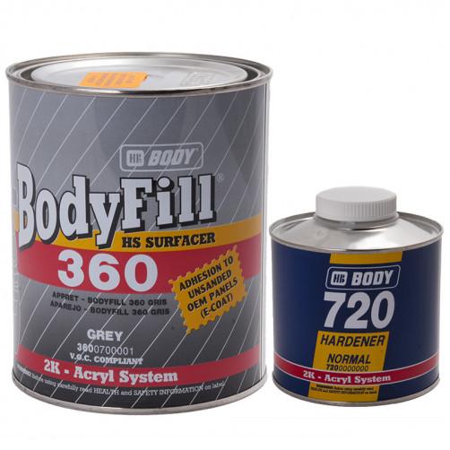 360 Grey грунт HS 2+1 с отвердителем 720 Боди, уп. 1+0,5 л