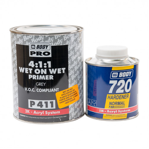 Грунт - изолятор BODY P411 Wet on Wet 4+1 Grey с отвердителем BODY H729, уп. 1+0,25 л