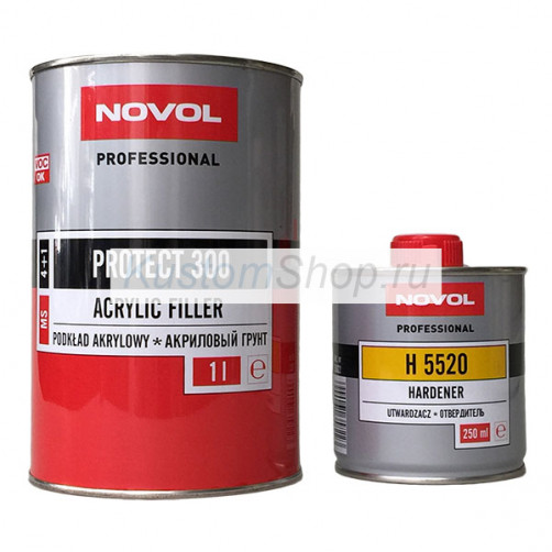 Novol Protect 300 грунт автомобильный MS (4:1) акриловый, серый, 1+0,25 л
