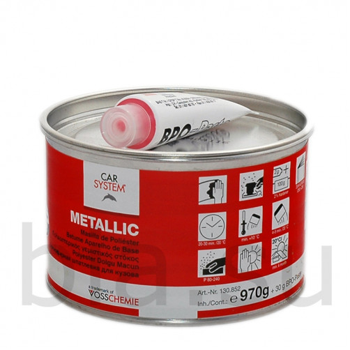 Шпатлевка полиэфирная Metallic с алюминиевым наполнителем Carsystem, уп.1 кг