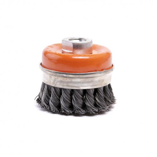 Щетка на УШМ чашеобразная металлическая усиленная с витой проволокой d100*M14