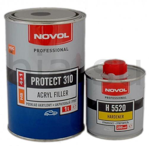 Грунт акриловый автомобильный NOVOL HS Protect 310 черный, уп. 1л+0,25л