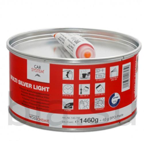 Шпатлевка 2К полиэфирная универсальная Multi Silver Light с алюминием Carsystem, уп.1,5 кг