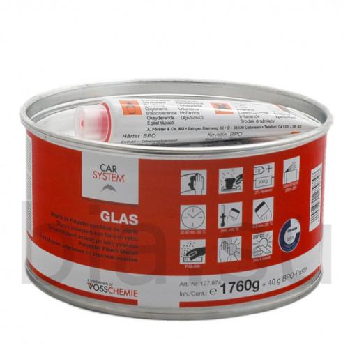 Шпатлевка 2К полиэфирная со стекловолокном Glas Carsystem, уп.1,8 кг (зеленая)