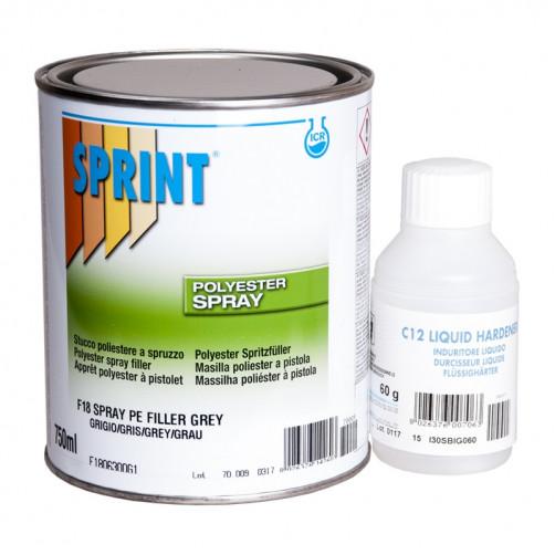 F18 Шпатлевка для авто, полиэфирная напыляемая (жидкая) Sprint Spray, уп. 0,75л/1,2кг