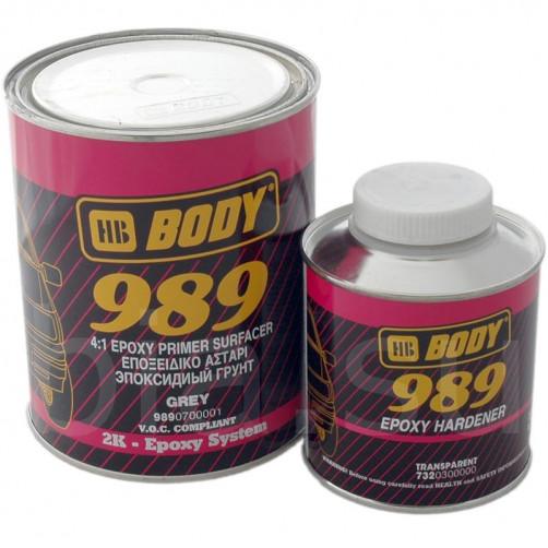 Грунт-наполнитель эпоксидный для авто, BODY 989 2К (серый), уп. 1+0,25 л