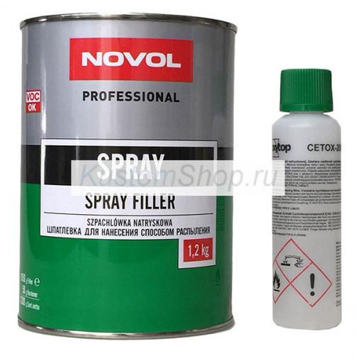 NOVOL SPRAY 2К шпатлевка жидкая с отвердителем 1,2 кг